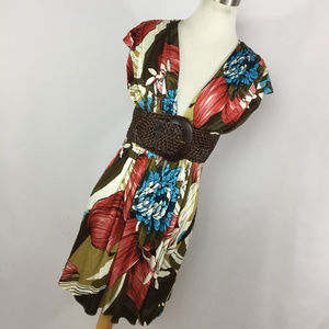 Sky Brand M Medium Dress Brown Red Blue Floral